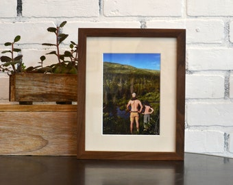 8x10 Picture Frame in Peewee Style with Natural Walnut Finish - IN STOCK - Same Day Shipping - 8x10 Photo Frame Solid Hardwood