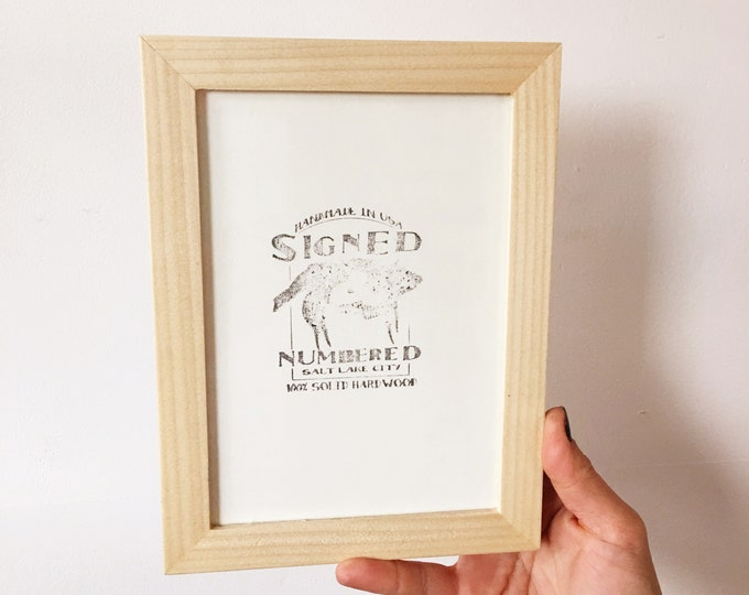 """5x7"""" Picture Frame in PeeWee Style with Solid Natural Poplar Finish - IN STOCK - Same Day Shipping - Gallery Frame 5 x 7 Natural Hardwood"""