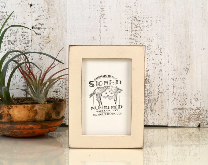 4x6 Picture Frame in 1x1 Flat Style with Vintage Ivory Finish - IN STOCK - Same Day Shipping - 4 x 6 Photo Frame Rustic Off White