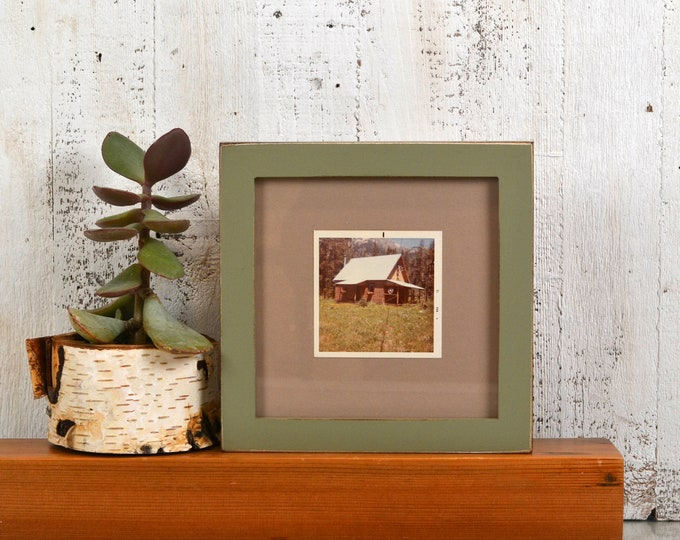 "7x7"" Square Picture Frame in 1x1 Flat Style with Vintage Old Green Finish - IN STOCK - Same Day Shipping - 7x7 Photo Frames"