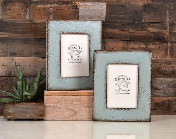 "5x7"" Picture Frame in 2.25 Reclaimed Redwood with Super Vintage Homestead Green Finish Father's Day Gift - 5 x 7 IN STOCK Same Day Shipping"