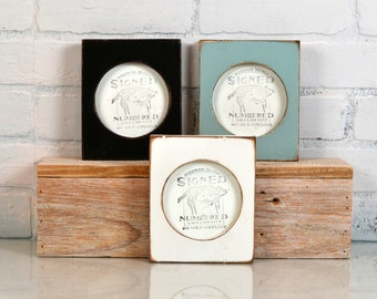 4x4 Pine Circle Opening Picture Frame in Vintage Finish COLOR of YOUR CHOICE - 4 x 4 inch Circle Round Picture Frame