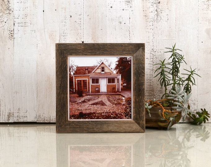 "8x8"" Square Picture Frame in 1.5"" Wide Rustic Natural Reclaimed Cedar Wood - IN STOCK - Same Day Shipping - 8x8 inch Photo Frame"