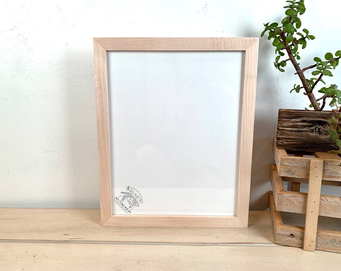 """11x14"""" Picture Frame - SHIPS TODAY - 1x1 Flat Style with Solid Natural Maple Finish - In Stock- Handmade 11 x 14 Solid Hardwood Maple"""