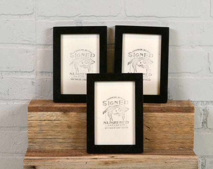 "4x6"" Picture Frame in PeeWee Style with Vitnage Black Finish - Same Day Shipping - IN STOCK - Gallery Frame 4 x 6 inches Black"