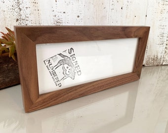 Natural WALNUT Picture Frame in 1x1 Flat style- Choose Size: 2x2 up to 18x24  - solid hardwood, simple, modern, minimal