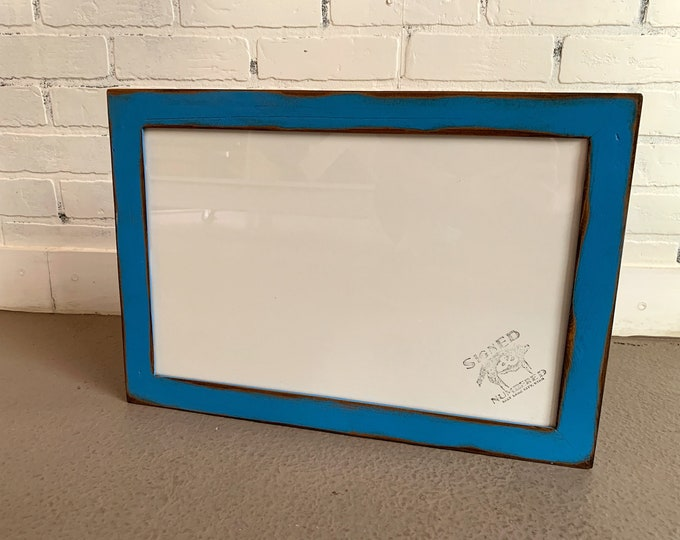 """11x17 Picture Frame in 1.5 Reclaimed Cedar with Vintage Cobalt Blue Finish - Handmade 11 x 17"""" Photo Frame - IN STOCK  Same Day Shipping"""