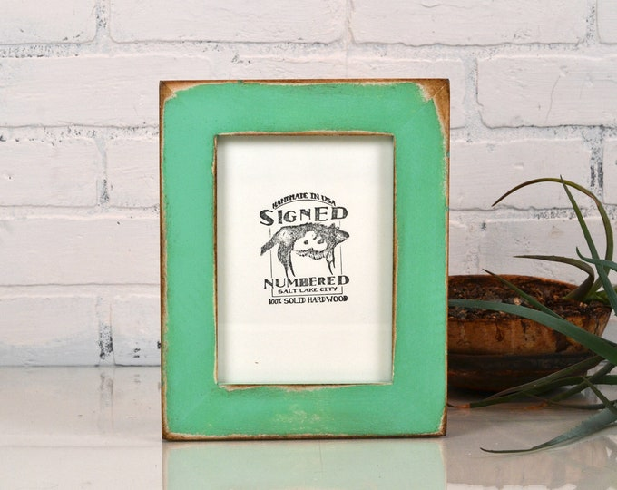 "5x7"" Picture Frame in 1.5 Standard Style with Super Vintage Robin's Egg Finish - IN STOCK - Same Day Shipping - 5 x 7 Photo Frame"