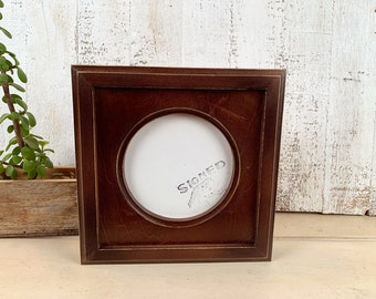 5x5 inch Circle Opening Photo Picture Frame with Outside Cove Build up with Vintage Dark Wood Tone Finish - IN STOCK - Same Day Shipping 5x5