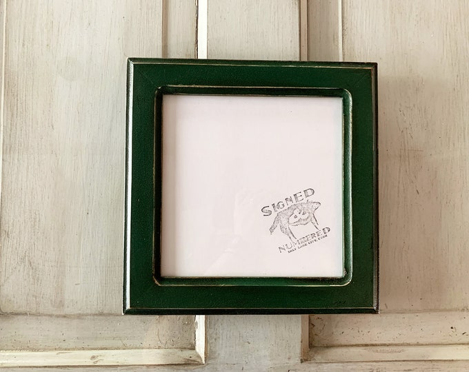 8x8 Square Picture Frame in Wide Double Cove Style with Vintage Forest Green Finish - IN STOCK Same Day Shipping - 8 x 8 Photo Frame