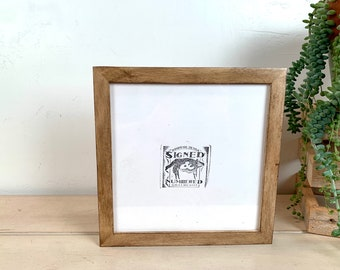8x8 Picture Frame - SHIPS TODAY - Square Frame Peewee Style in Burnished Natural Poplar - In Stock - 8 x 8 inch Thin Wood Photo Frame