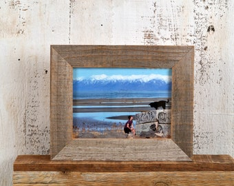 "5x7 inch Picture Frame in 1.5"" Wide Rustic Natural Reclaimed Cedar Fence Wood - IN STOCK - Same Day Shipping"