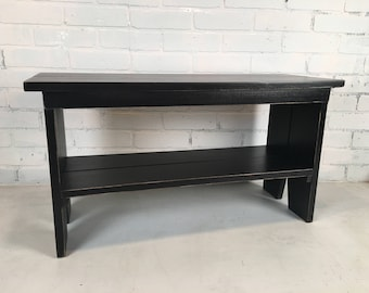 Wooden Bench with Vintage Black Finish - Indoor Cottage Seating Schoolhouse Wood Bench Seat - Handmade Bench - IN STOCK  - Same Day Shipping