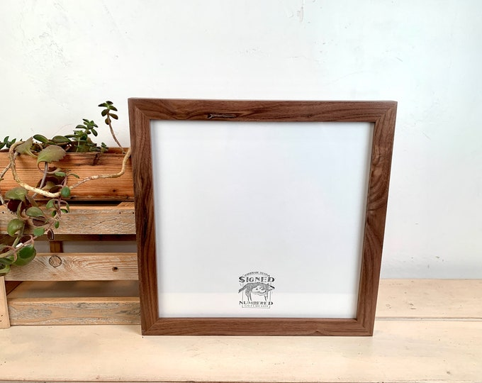 """11.25 x11.25"""" Square Picture Frame - SHIPS TODAY - 1x1 Flat Style with Solid Natural Walnut Finish - In Stock - Handmade 11 x 11 Photo Frame"""