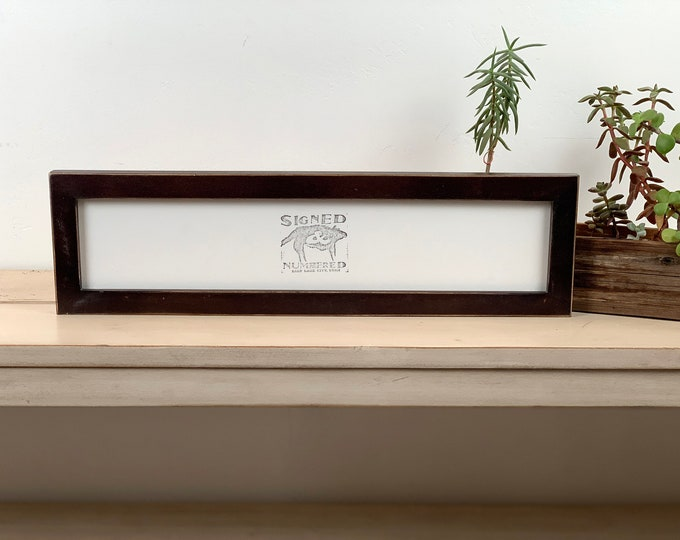 "4x18"" Picture Frame in 1x1 Flat Style with Vintage Dark Wood Tone Finish - IN STOCK - Same Day Shipping - 18 x 4 Panoramic Photo Frame"