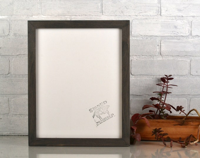 "11x14"" Picture Frame in 1x1 Flat Style with Gray Wash Finish - IN STOCK - Same Day Shipping - Handmade 11 x 14 Solid Hardwood"