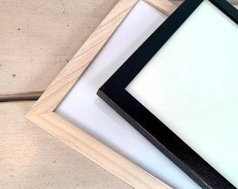 8x10 Picture Frame - BEST SELLER - Peewee Style with Vintage Black or Natural Poplar Finish - In Stock - 8x10 Photo Frame Solid Hardwood