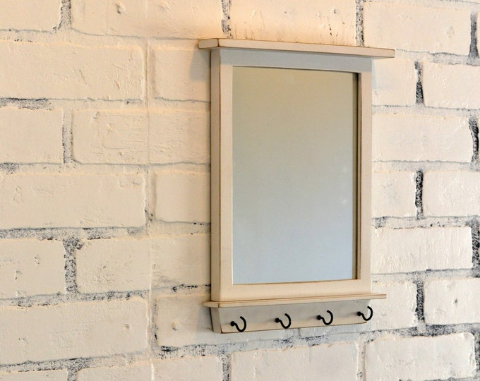 Entryway Mirror with Four Key Holder Hooks - 8x10 Wood Mirror Vintage White Finish - IN STOCK - Same Day Shipping - Small White Mirror