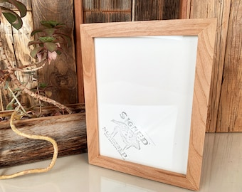 6x8 inch Picture Frame Solid Natural Cherry - SHIPS TODAY - Peewee Style - In Stock - 6 x 8 Thin Wood Photo Frame
