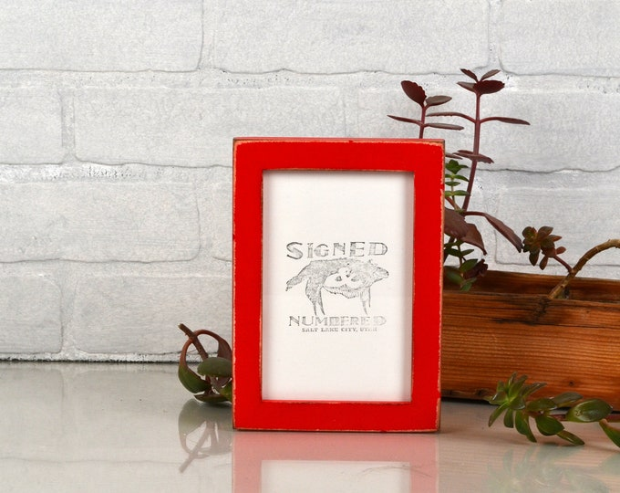 """4x6"""" Picture frame in Peewee Style with Super Vintage Red Painted Finish - IN STOCK - Same Day Shipping - Photo Frame 4 x 6 Photo Frame"""