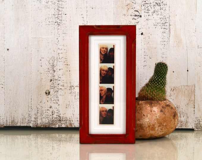"""4x10"""" Picture Frame in Shallow Bones Style with Vintage Red Dye Finish - IN STOCK  Same Day Shipping - 4 x 10 inch Panoramic Photo Frame"""