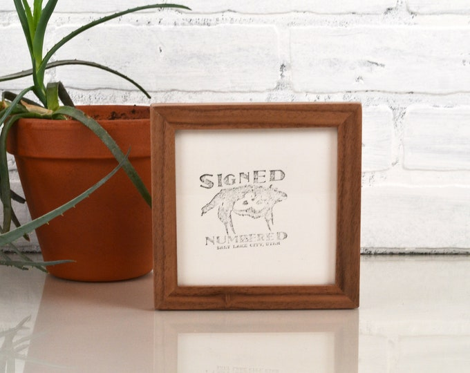 5x5 inch Square Picture Frame in Peewee Style in Solid Natural Walnut - IN STOCK - Same Day Shipping - 5 x 5 Photo Frame - Solid Hardwood