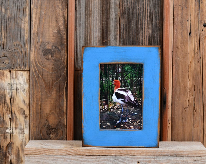 """4x6 Picture Frame 1.5"""" Reclaimed Cedar Wood with Super Vintage Cobalt Blue Finish - IN STOCK Same Day Shipping - 4 x 6 Rustic Frame"""