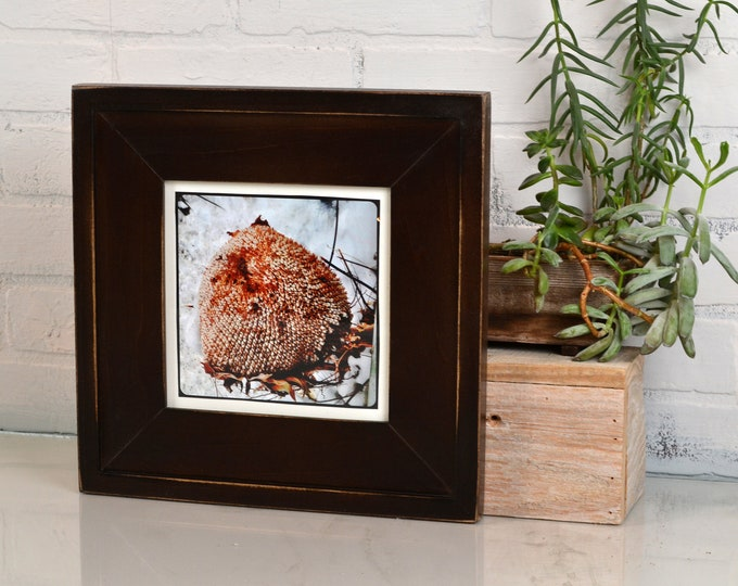 "7x7"" Square Picture Frame in New Cottage Style with Vintage Dark Wood Tone Finish - IN STOCK - Same Day Shipping - 7 x 7"" Frame Rustic Brown"