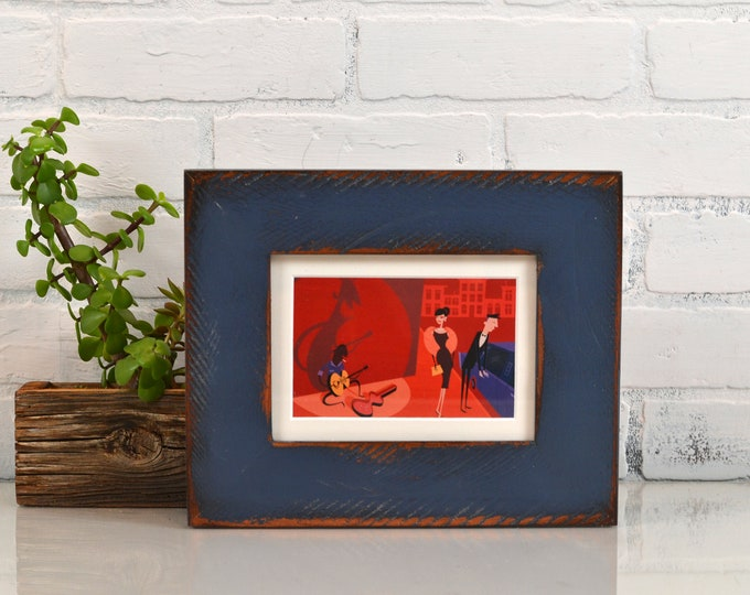 "5x7"" Picture Frame in 2.25 Reclaimed Redwood with Super Vintage Navy Blue Finish Valentine's Day Gift 5 x 7 IN STOCK Same Day Shipping"