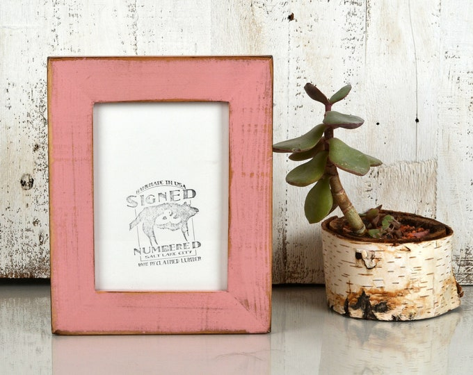 5x7 Picture Frame in Reclaimed Cedar with Super Vintage Rose Pink Finish - IN STOCK Same Day Shipping - Upcycled Wood Frame 5 x 7