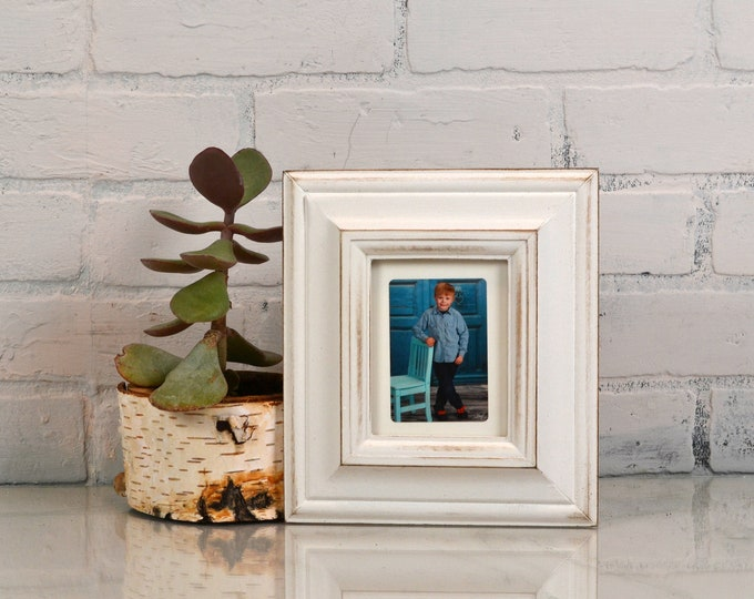 3.5x4.5 ACEO Wallet Size Picture Frame with Vintage White Finish in Mulder Style - IN STOCK Same Day Shipping - 2.5x3.5 Wallet Photo