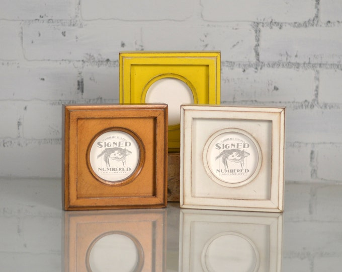 3x3 Circle Opening Picture Frame with Outside Cove Build up Edge and in COLOR of YOUR CHOICE - 3 x 3 inch Circle Round Picture Frame