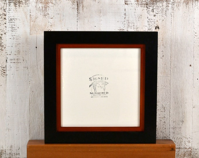 10x10 Picture Frame in Solid Black Finish with Solid Wood Tone Build Down Style - IN STOCK - Same Day Shipping - Square Photo