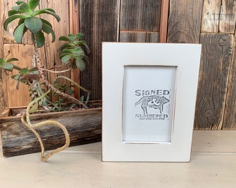 """4x6 Picture Frame in 1.5"""" Standard Style with Vintage White Finish - IN STOCK - Same Day Shipping - SALE 4 x 6 Photo Frame Rustic White"""