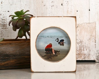 4x4 Pine Circle Opening Picture Frame in Vintage White - IN STOCK - Same Day Shipping - 4 x 4 inch Circle Round Picture Frame