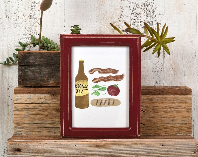 5x7 Picture Frame in Double Cove Style with Vintage Wine Finish - IN STOCK - Same Day Shipping - 5 x 7 Frame Solid Hardwood Burgundy