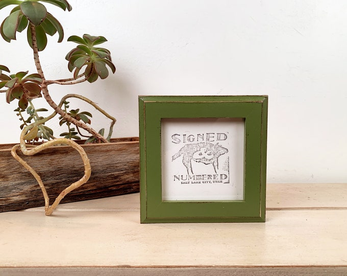 4x4 Square Photo Frame in 1x1 Outside Cove Style with Vintage Guacamole Green Finish - IN STOCK Same Day Shipping - 4 x 4 Photo Frames
