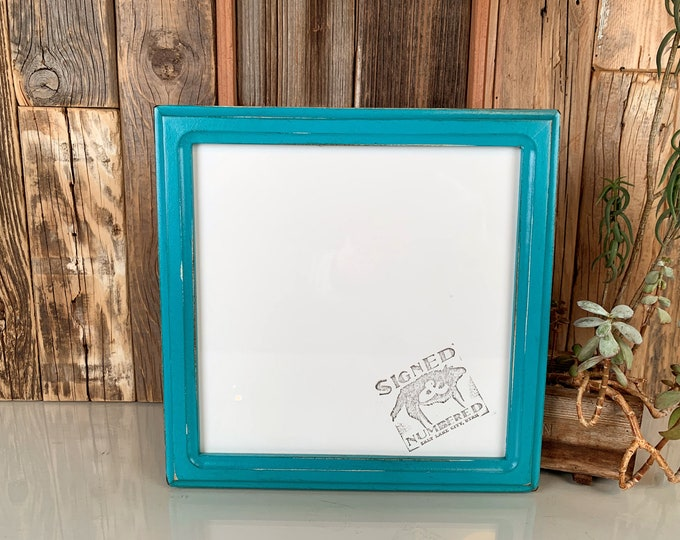 9x9 Square Picture Frame in 1x1 Double Cove Style with Vintage Turquoise Finish - In Stock Same Day Shipping - 9 x 9 inch Photo Frame