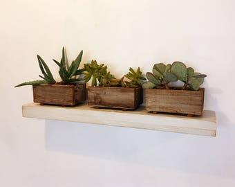 "Floating Shelf Solid Hardwood - 24"" Wide Modern Float Shelf with White Wash Finish - 5 inches Deep - Handmade Sturdy Floating Shelves"