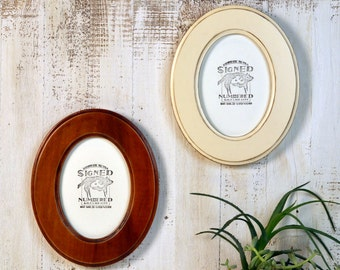 5x7 Oval Opening Picture Frame Oval Shaped Outside in Finish COLOR of YOUR CHOICE - Solid Poplar Wood 5 x 7 Photo Frames Round Ellipse