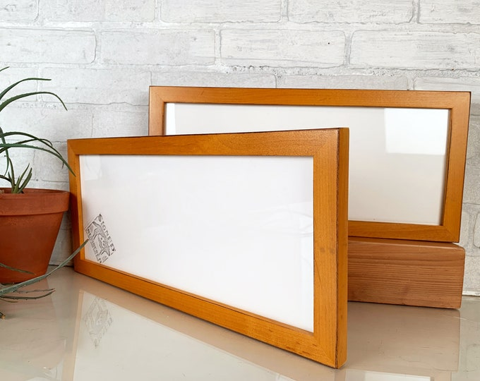 "5x15"" Picture Frame in 1x1 Flat Style with Solid Honey Dye on Alder Finish - IN STOCK - Same Day Shipping - 15 x 5 Panoramic Photo Frame"