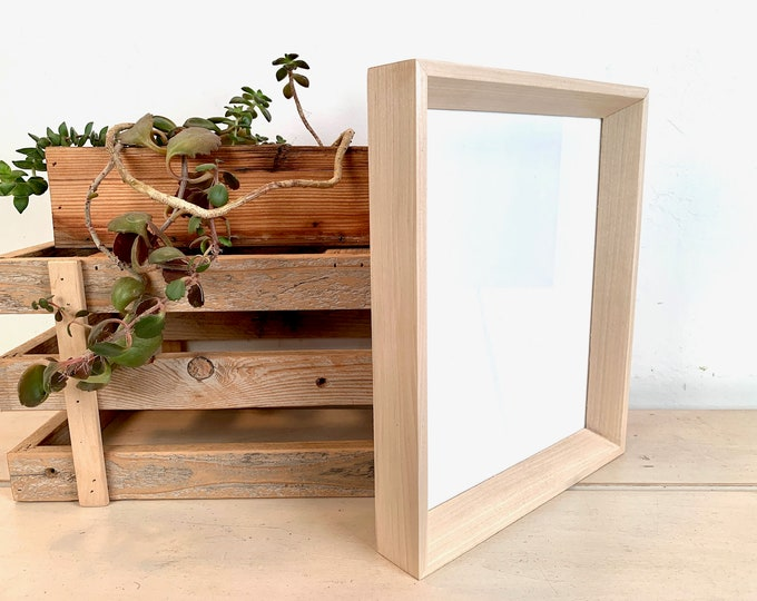 8x10 Picture Frame - SHIPS TODAY - Park Slope Style with Solid Natural Poplar Wood Finish - In Stock - Modern Solid Wood Frame 8 x 10
