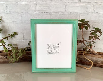 8x10 Picture Frame in 1x1 Double Cove Style with Vintage Robin's Egg Finish - IN STOCK - Same Day Shipping - Rustic Frame 8 x 10