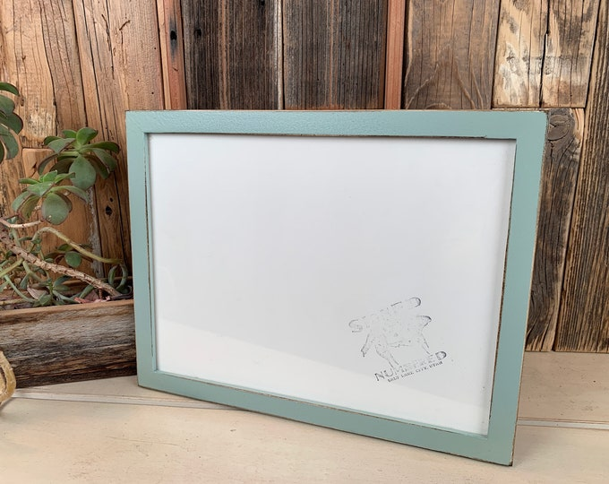 9x12 Picture Frame in Peewee Style with Vintage Homestead Green Finish - IN STOCK Same Day Shipping - Handmade Frame 9 x 12 inch size