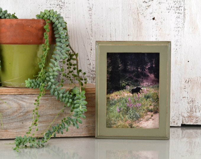5x7 Picture Frame in 1x1 Outside Cove Style with Vintage Old Green Finish - IN STOCK - Same Day Shipping - 5 x 7 Frame Solid Hardwood