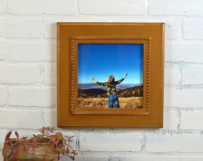 """8x8 Square Picture Frame in 2.5"""" Wide Bumpy Style with Vintage Roman Gold Finish - IN STOCK Same Day Shipping - 8 x 8 Photo Frame"""