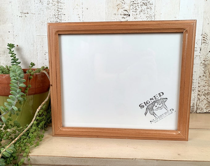 """9x11 Picture Frame in 1x1 Double Cove Style on Alder with Burnished Natural Finish - IN STOCK - Same Day Shipping - Rustic Frame 9 x 11"""""""