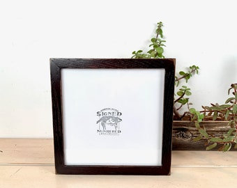 8x8 Picture Frame - SHIPS TODAY - Square Frame Peewee Style in Vintage Black on Oak - In Stock - 8 x 8 inch Thin Wood Photo Frame