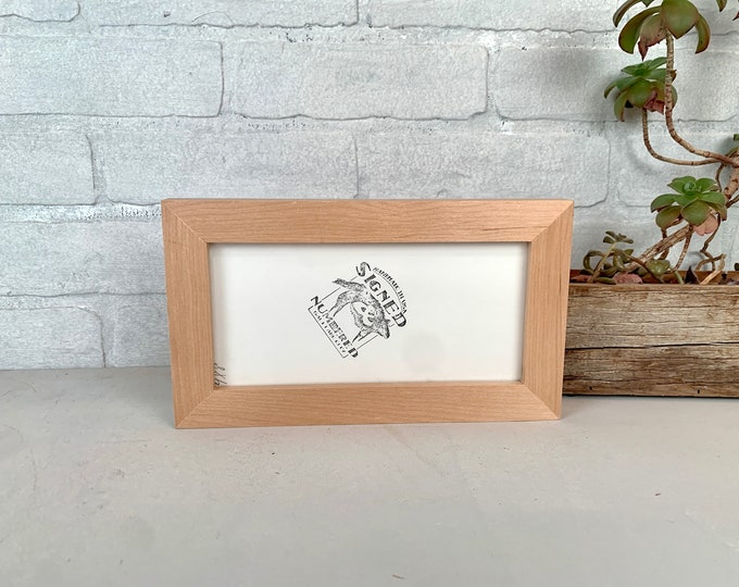 4x8 Picture Frame - SHIPS TODAY - 1x1 Flat Style with Solid Natural Alder Finish - In Stock - Panoramic Frames 4 x8 inches
