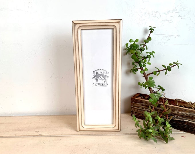 """4x12"""" Picture Frame - SHIPS TODAY - 1x1 Double Cove Style with Super Vintage Ivory Finish - In Stock - 12 x 4 Panoramic Photo Frame Cream"""